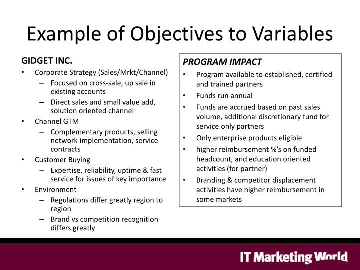 Example of Objectives to Variables