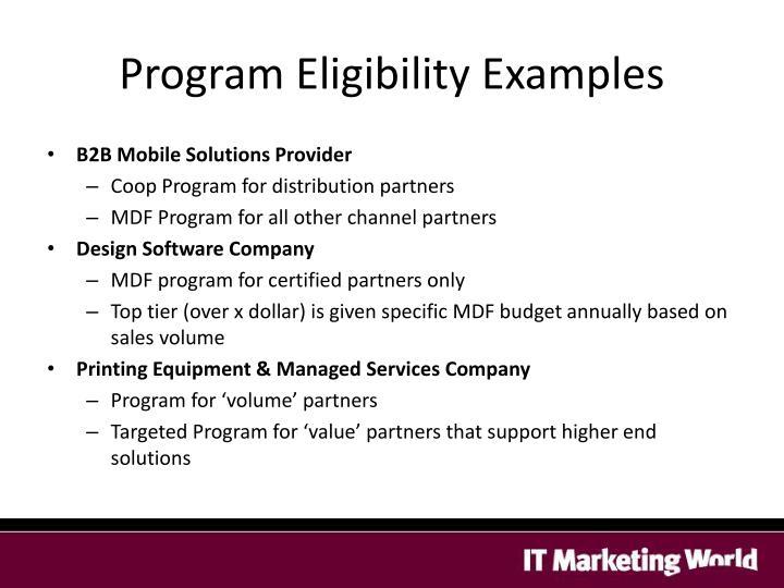 Program Eligibility Examples