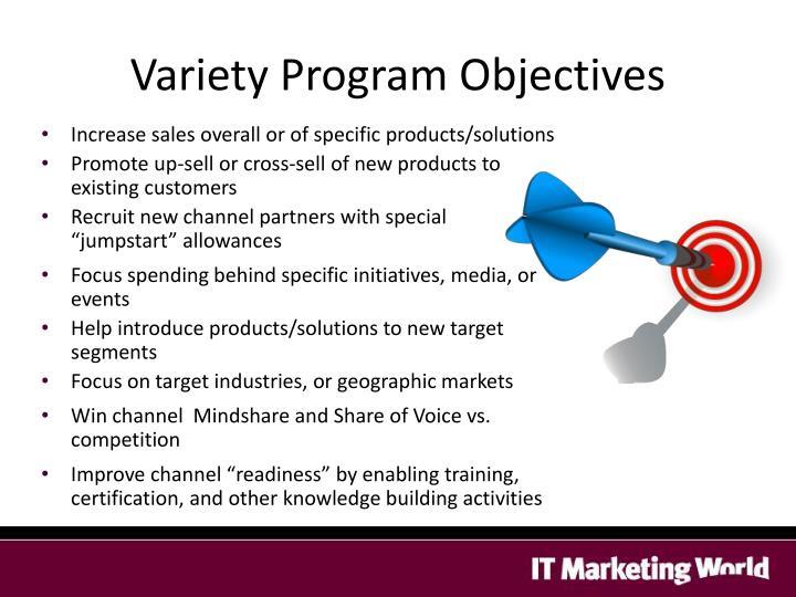 Variety Program Objectives