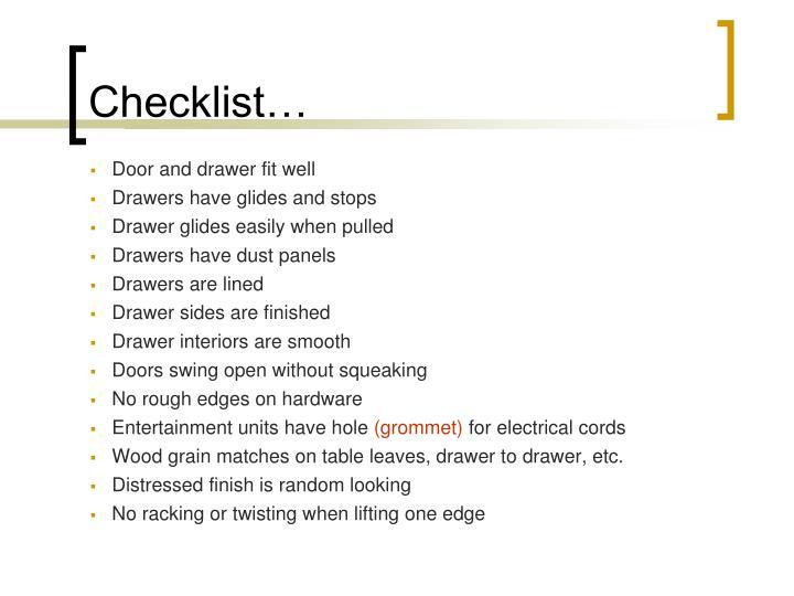 Checklist…