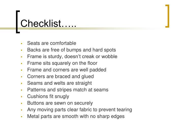 Checklist…..