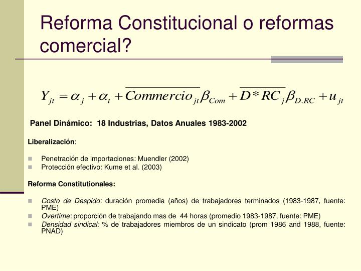 Reforma Constitucional o reformas comercial?