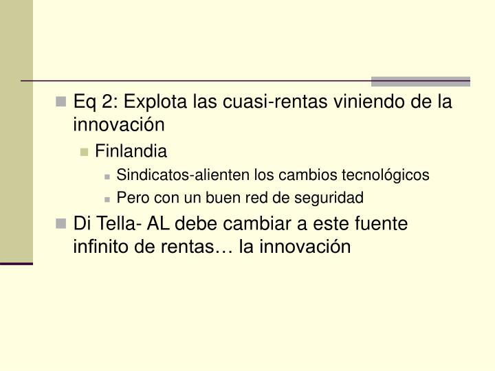 Eq 2: Explota las cuasi-rentas viniendo de la innovación
