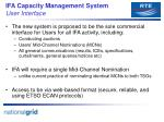 ifa capacity management system user interface