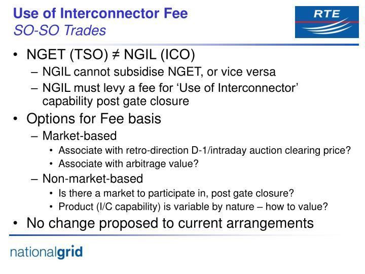 Use of Interconnector Fee
