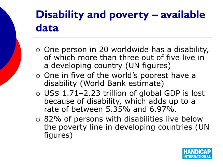 Disability and poverty – available data