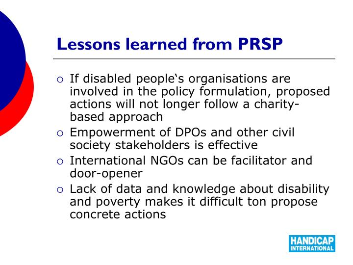 Lessons learned from PRSP