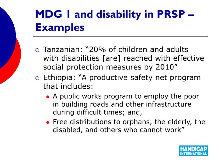 MDG 1 and disability in PRSP – Examples