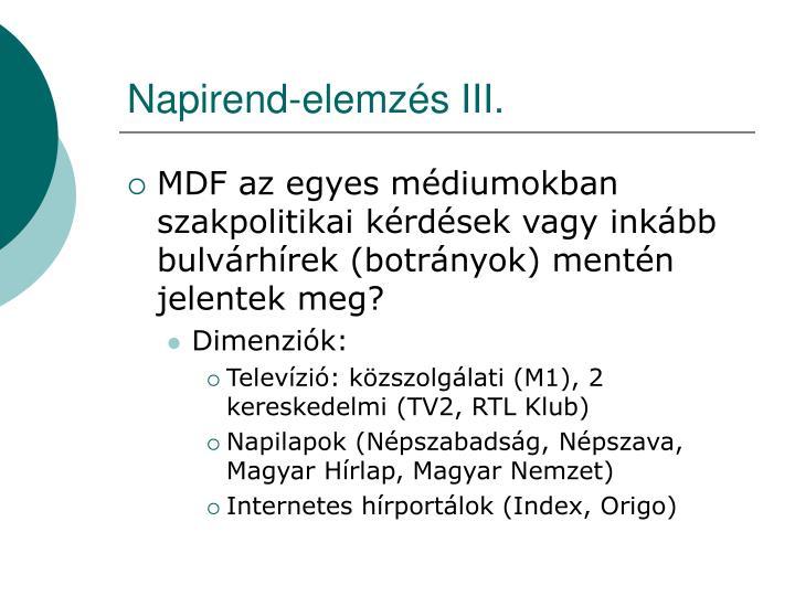 Napirend-elemzés III.