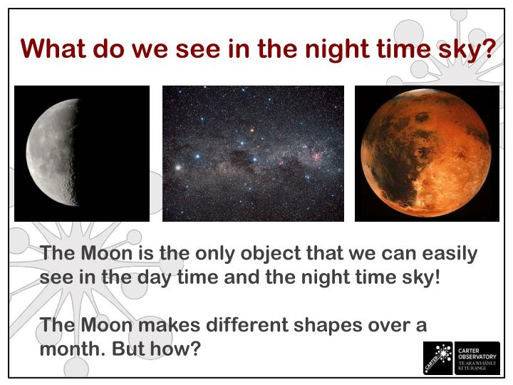 What do we see in the night time sky?