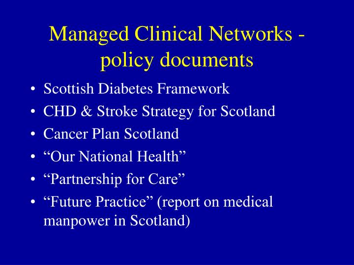 Managed Clinical Networks - policy documents