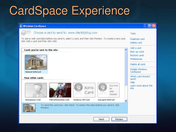 CardSpace Experience