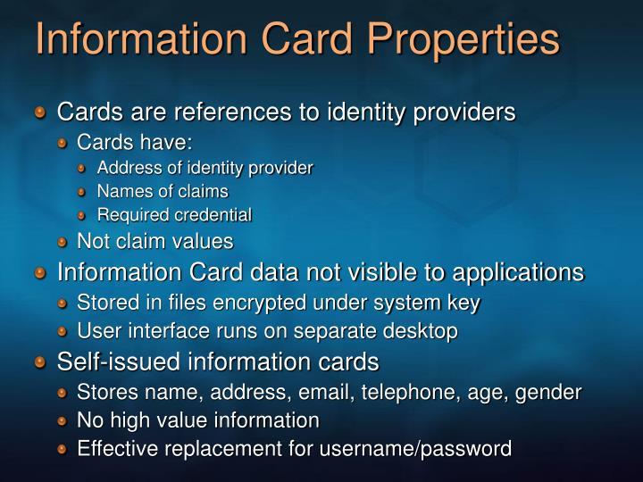 Information Card Properties