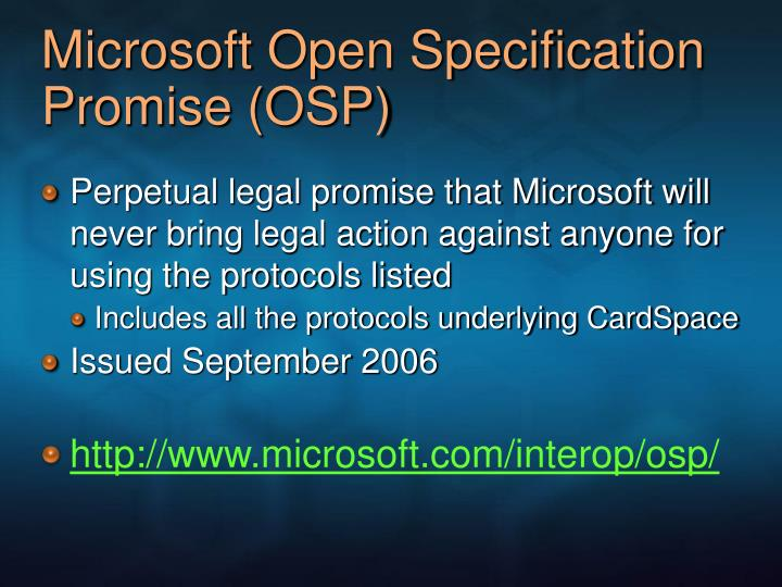 Microsoft Open Specification Promise (OSP)