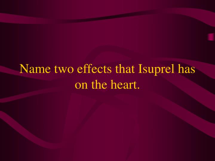 Name two effects that Isuprel has on the heart.