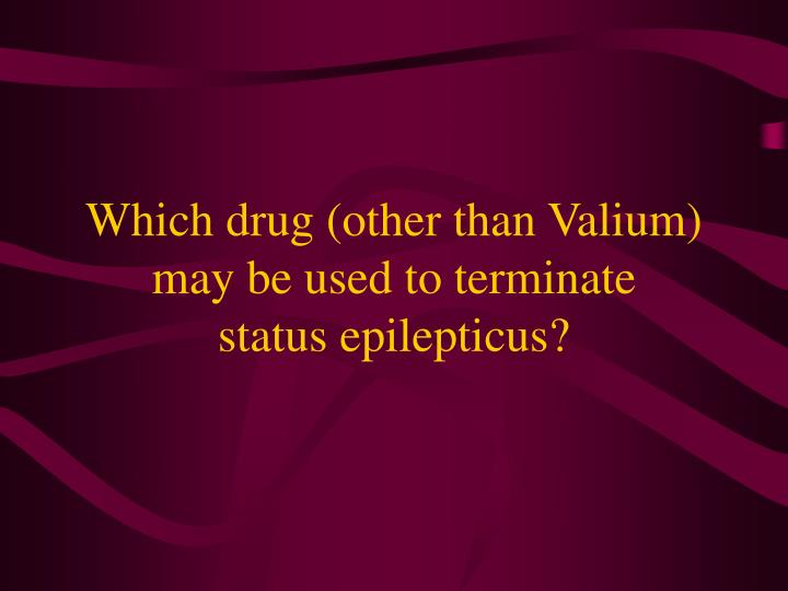 which drug other than valium may be used to terminate status epilepticus