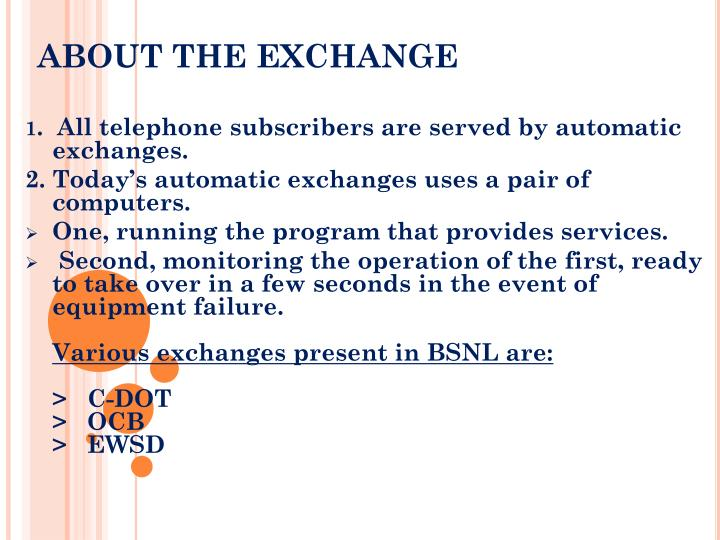 ABOUT THE EXCHANGE