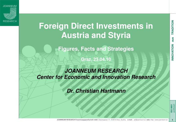 Foreign Direct Investments in Austria and Styria