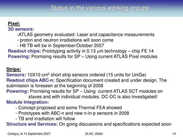 Status in the various working groups
