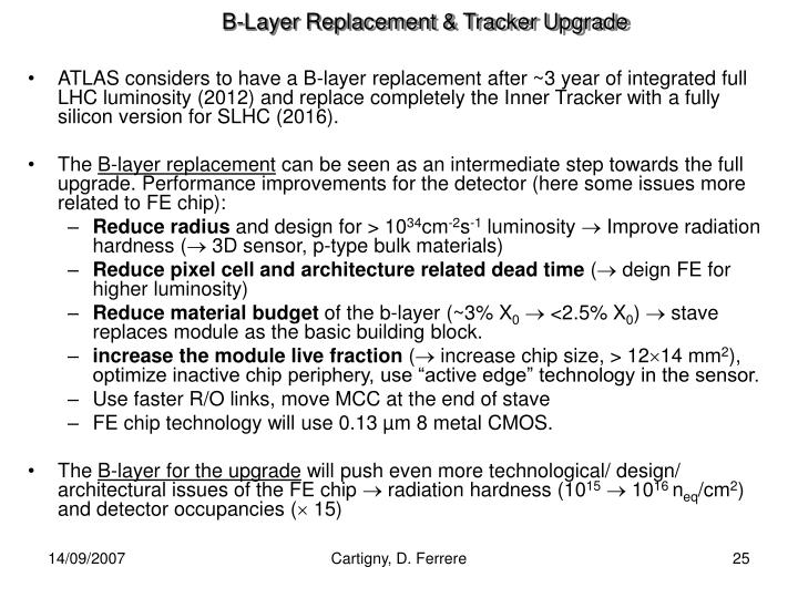 B-Layer Replacement & Tracker Upgrade