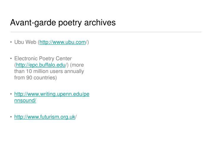 Avant-garde poetry archives