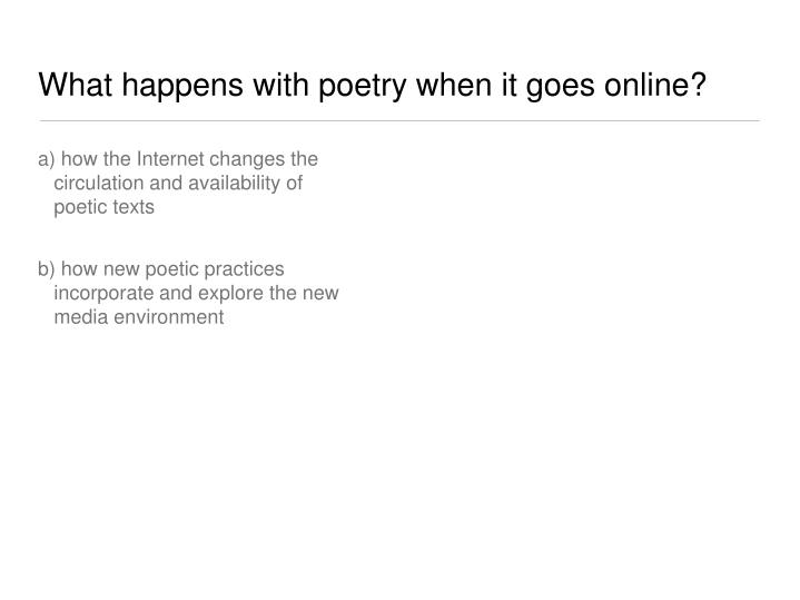 What happens with poetry when it goes online?