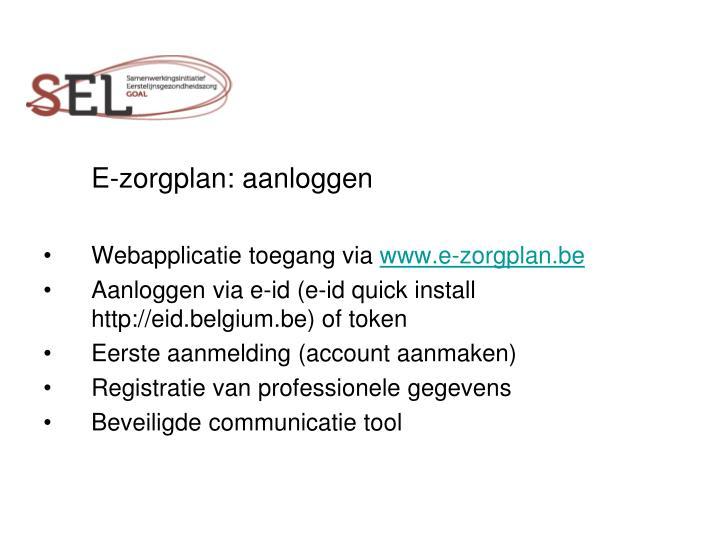 E-zorgplan: aanloggen