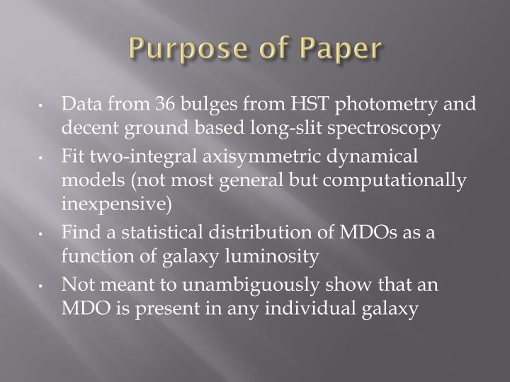 Purpose of Paper