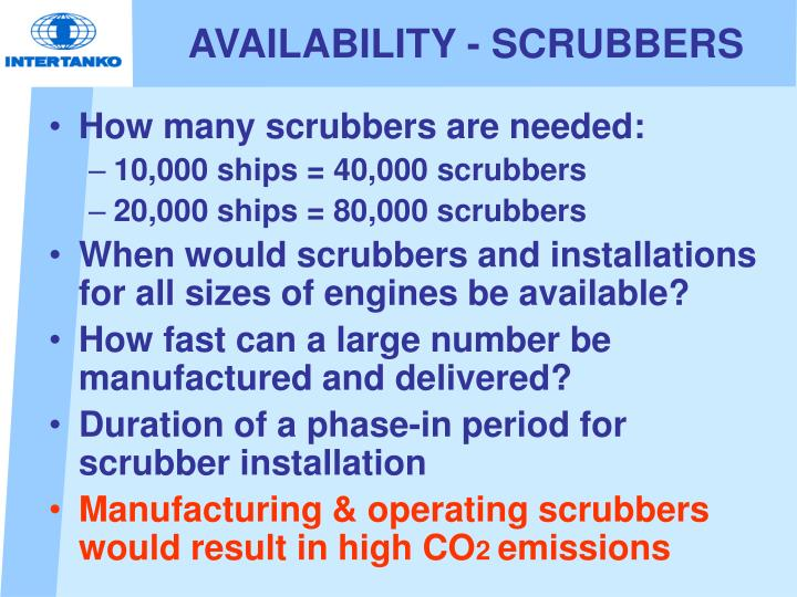 AVAILABILITY - SCRUBBERS