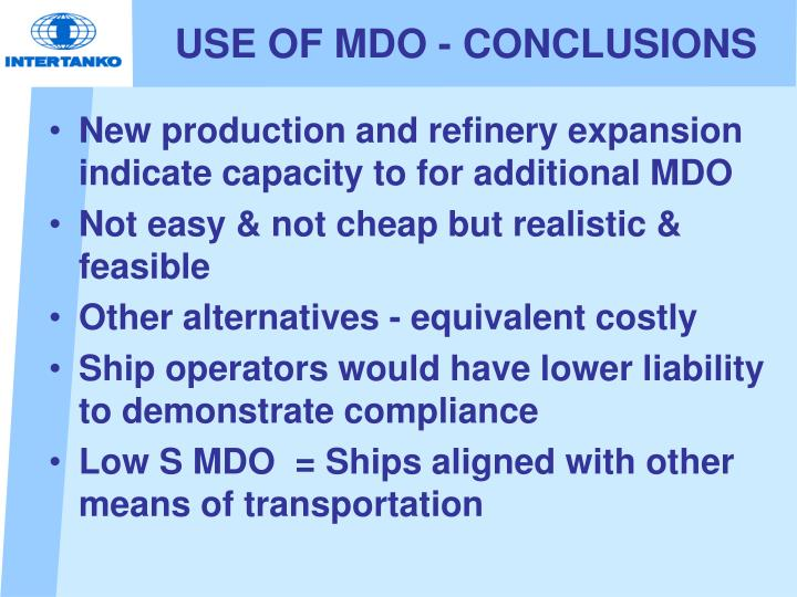 USE OF MDO - CONCLUSIONS