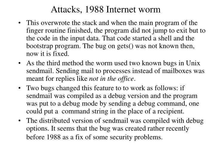 Attacks, 1988 Internet worm