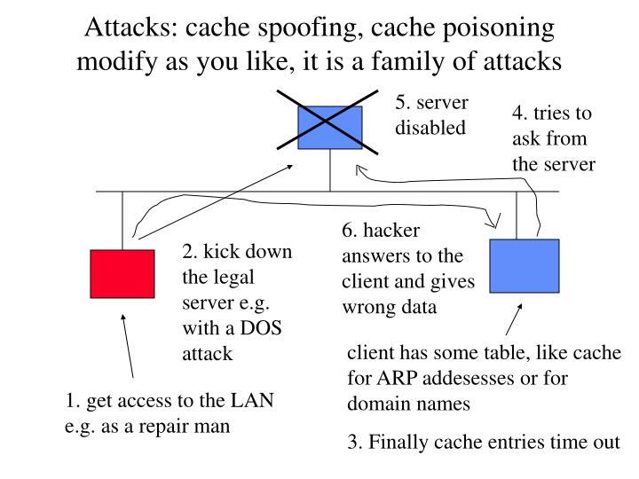 Attacks: cache spoofing, cache poisoning
