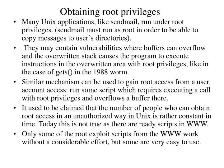 Obtaining root privileges