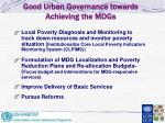 good urban governance towards achieving the mdgs