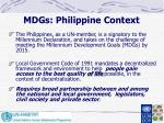 mdgs philippine context