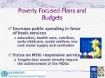 poverty focused plans and budgets