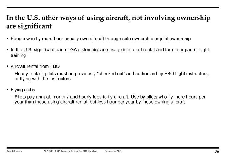 In the U.S. other ways of using aircraft, not involving ownership are significant