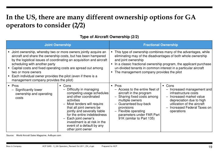 In the US, there are many different ownership options for GA operators to consider (2/2)
