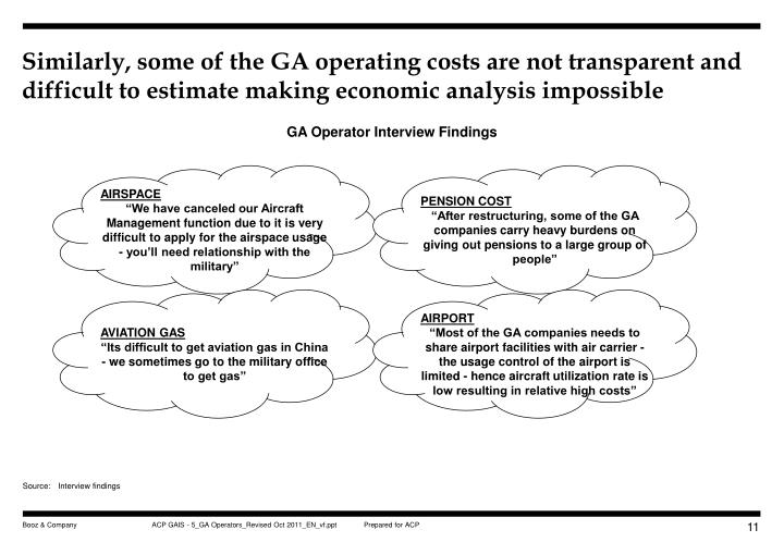 Similarly, some of the GA operating costs