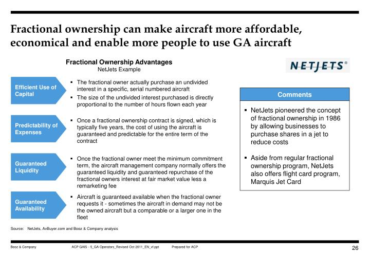 Fractional ownership can make aircraft more affordable, economical and enable more people to use GA aircraft