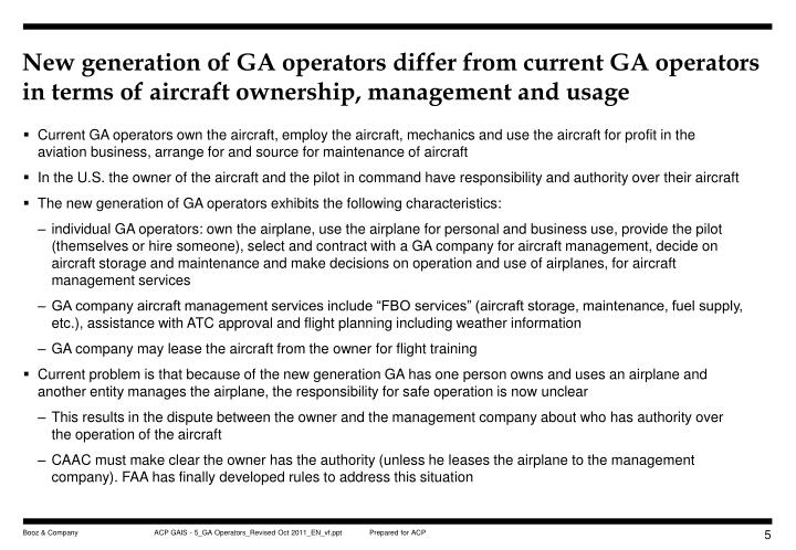 New generation of GA operators differ from current GA operators in terms of aircraft ownership, management and usage