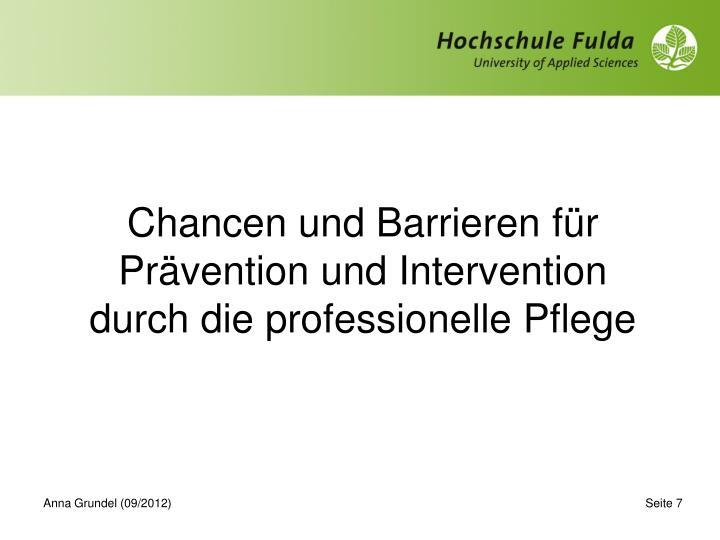 Chancen und Barrieren für Prävention und Intervention