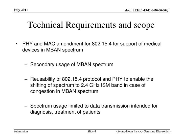 Technical Requirements and scope