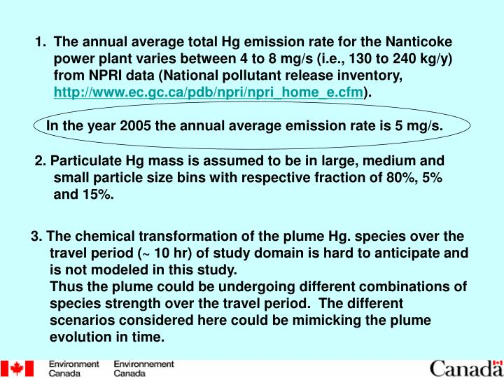The annual average total Hg emission rate for the Nanticoke power plant varies between 4 to 8 mg/s (i.e., 130 to 240 kg/y) from NPRI data (National pollutant release inventory,