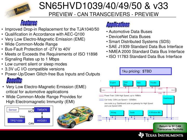 SN65HVD1039/40/49/50 & v33