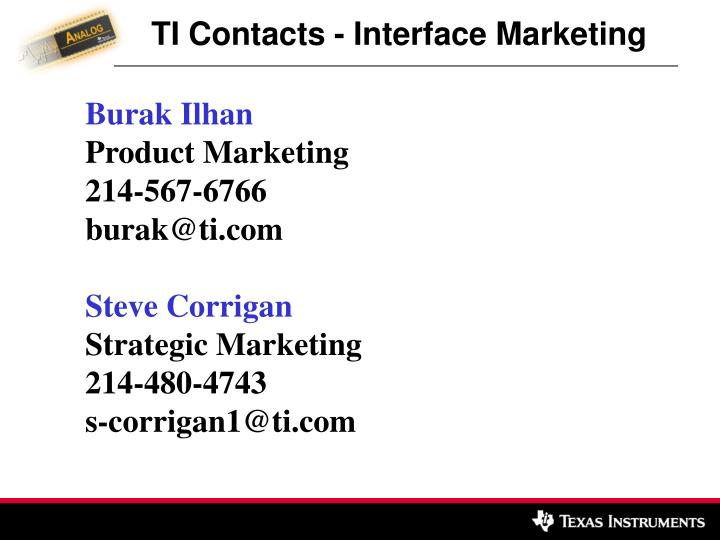 TI Contacts - Interface Marketing