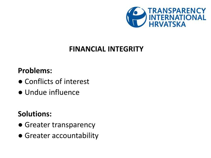 FINANCIAL INTEGRITY