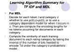 learning algorithm summary for tf idf and mdl2