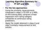 learning algorithm summary for tf idf and mdl3