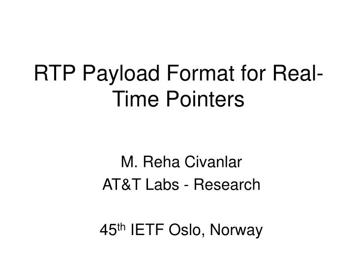 rtp payload format for real time pointers